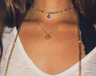 Rainbow Evil Eye Choker
