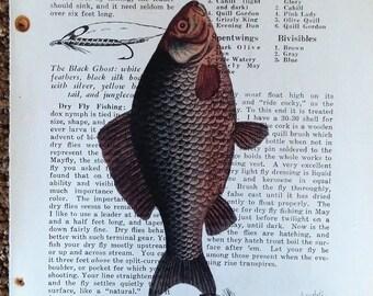 vintage book page art, fish, upcyle book art, scrapbook