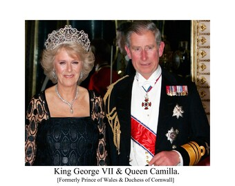 "King Charles & Queen Camilla Satire Photo. 10""x 8"" FREE UK shippings. #300"