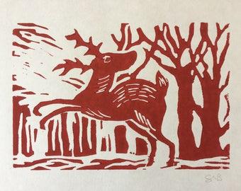 Original Red Deer Lino Print
