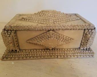 Antique Hand Carved Tramp Art Box