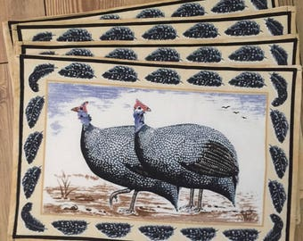 Placemats African Guinea Fowl. Set of 6.