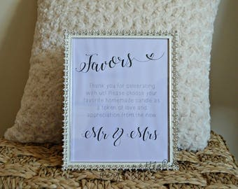 Custom Wedding Favor Sign, Digital File