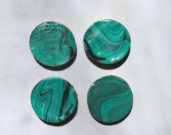 SALE! Teal/Black Marble Magnet Set - 4 pcs  - Ready To Ship!