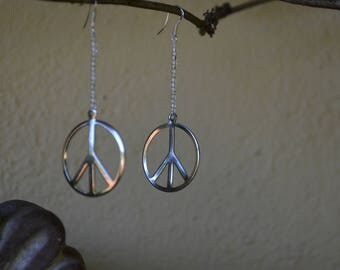 pretty peace sign earrings