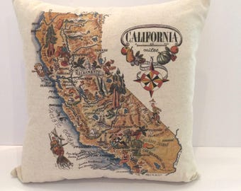 California Map Pillow with Unique Icons