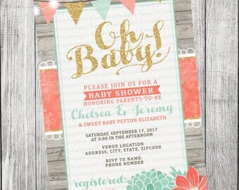 Coral, Mint, Gold Rustic Baby Shower Invitation