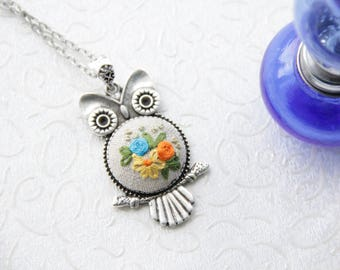 Embroidery Owl Pendant with Floral design