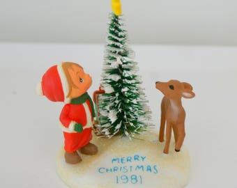 1981 Betsey Clark Hallmark Christmas Ornament Girl and Deer and Tree