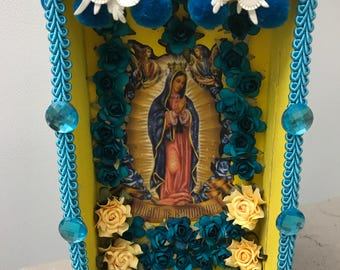 Nicho, Retablo, Altar, Religious Shrine, Shadow Box, Altered Art Shrine, Religious Art, Table Top Decor, Mixed Media Art,