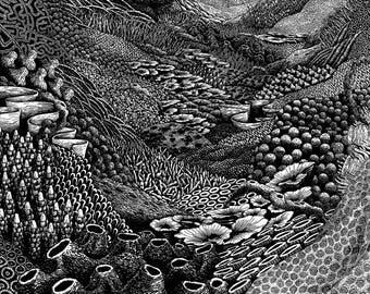 Sprawl woodcut