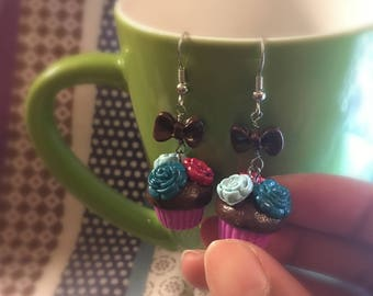 Chocolate Flower Cupcake Earrings with Chocolate Bow // Miniature Food Jewelry // Tiny Food Jewelry // Polymer Clay Jewelry // Nickel Free