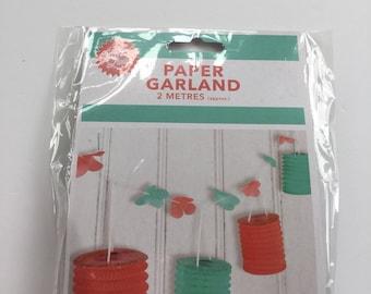 2 metre Paper Garland lantern orange and Green Party decoration decor fun