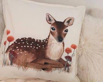 Hand Painted Deer Woodland Cushion