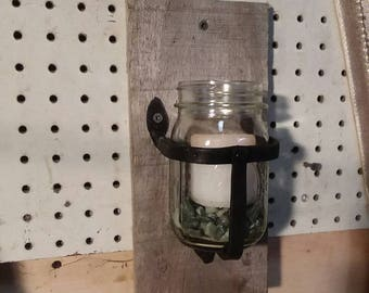 Mason jar candle holder, rustic decor, wall sconces, blacksmith made, hand forged