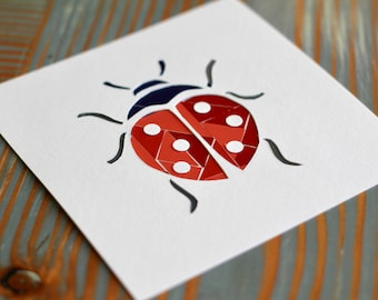 Lovely Little Ladybug Collage-Modern Nursery Wall Art and Decor