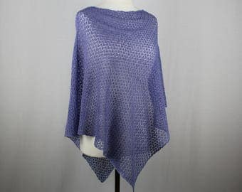 Blue lace poncho, Knit summer poncho, Knit poncho, Lightweight poncho, Womens knitted poncho, Cotton poncho