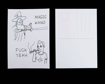 magic wand postcard
