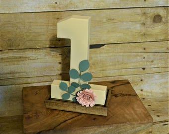 Paper Mache One First Birthday Decoration w/ Paper Rose, Girl's First Birthday Decoration
