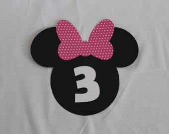 Minnie Age Sign (set of 3) / Minnie Birthday Sign / Minnie Decoration
