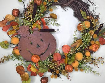 Fall Autumn Thanksgiving Halloween Wreath