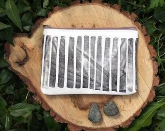 Hand printed stripe zipper pouch