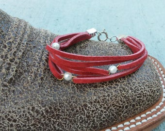 Red with Pearls Leather Bracelet