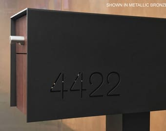 Custom Modern and Contemporary Post Mounted Aluminum and Ipe Mailbox With Through Cut Or Vinyl Address Numbers