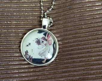 fairy cabochon necklace with silvertone chain
