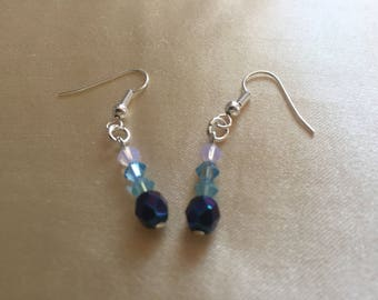 Blue and pale pink earrings with swarovski elements