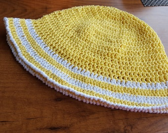 Summer hat, crochet hat, crochet hat for adults, yellow and white