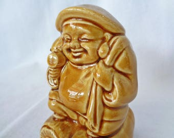 VJ113 : Vintage Japanese ceramic piggy bank ,Daikokuten God