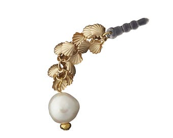 Gold and Pearl Phone Charm Pendant