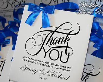 10 Thank You wedding bags with Royal Blue ribbon, bow and names, Elegant wedding bags, wedding favor bags, welcome wedding bags, party bags