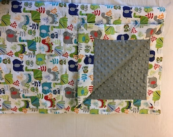Gray/White/Dinosaurs flannel minky baby blanket