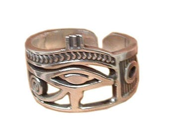 Egyptian Eye of Horus  Ankh Adjustable Silver Ring Jewelry