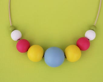 Wooden hand painted beaded necklace - pink, yellow, blue, green and white