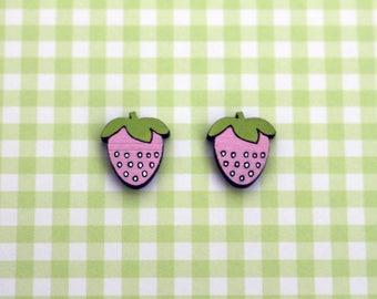 Wooden pink strawberry earrings - strawberry studs, wooden jewelry, wooden jewellery, handmade earrings, fruit studs