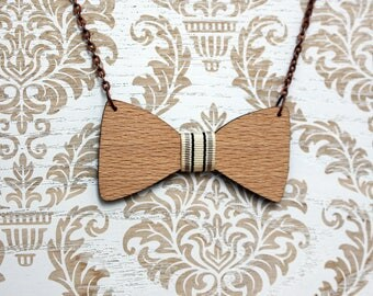 Wooden bow tie necklace, Wooden necklace, bowtie necklace, Gift for her