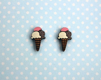 Mini wooden ice cream cone earrings - ice cream studs, wooden jewelry, wooden jewellery, handmade earrings, food studs