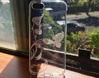 Butterfly Iphone Case. Rhinestone iphone Case. Handmade Iphone Case. Sillicone Iphone Case.