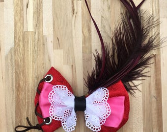 """5"""" Hair Bow ~ Red Head  ~ Pirates of the Caribbean ~ Disney Inspired  ~ Handmade  ~ Alligator Clip"""