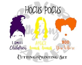 hocus pocus SVG, PDF, JPG, cutting file, printing file, cricut, cameo, sanderson sisters, winifred, mary, sarah