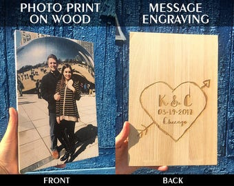 5th Anniversary Gift Rustic Wedding 5 Year Anniversary|Wood|Anniversary|Photo|jn|Wood|Photo|Gift Parents Anniversary Family Portrait