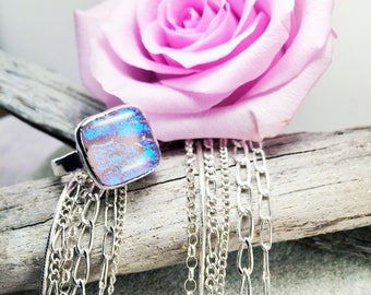 Stunning Sparkly Dichroic Glass Ring