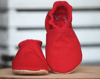 Red Canvas Crib Shoes, Baby Booties, Baby Shower
