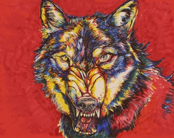 Red Wolf with Human eye