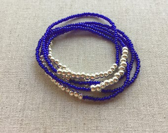 Seed Bead Stretch Layering Bracelet- Royal Blue