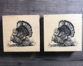 Vintage Turkey Small Wooden Block Stamp