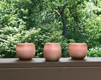 Set of 3 Pink & Gold Soy Wax Votive Candles